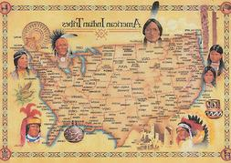 Art print POSTER / Canvas Native American Tribes - Map
