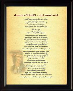 Chief Tecumseh Live Your Life Poster Print Picture or Framed