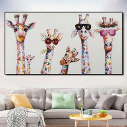 Colorful Giraffe Animal Family Poster Painting Cuadros For K