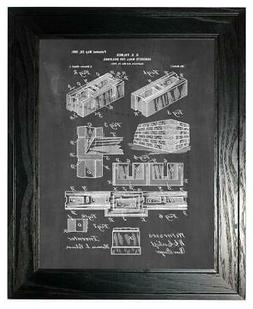 Concrete Wall for Buildings Patent Print Chalkboard in a Bla