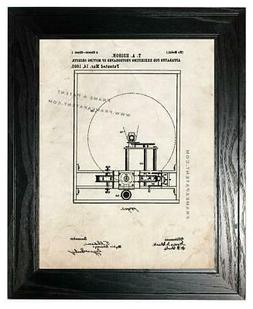 Edison Motion Picture Camera Patent Print Old Look in a Blac