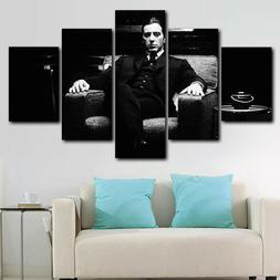Framed Black & White The Godfather Al Pacino 5 Piece Canvas