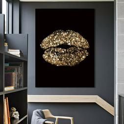 Golden Crystal Woman Lips Poster Wall Art Canvas Painting Pi