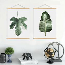 Green Plant Canvas Print Painting Wall Art with Wooden Hange
