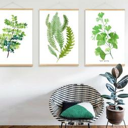 Green Plant Leaf Canvas Painting for Living room with Wooden