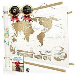 NIVI Scratch Off World Map  International Travel Poster with