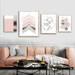 Pink Gray Silver Abstract Geometric Print Nordic Poster Wall
